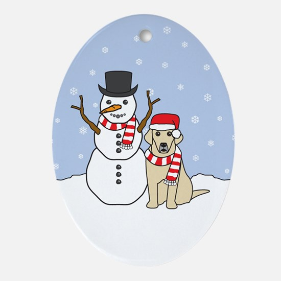 Yellow Labrador Retriever Winter Oval Ornament