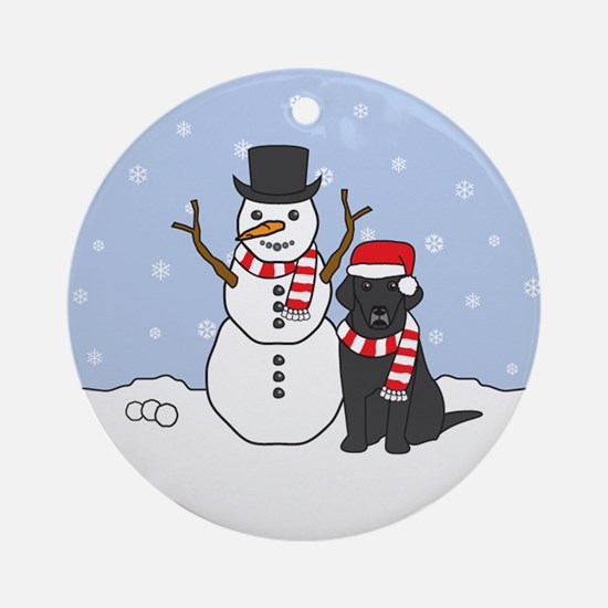 Black Labrador Retriever Winter Ornament