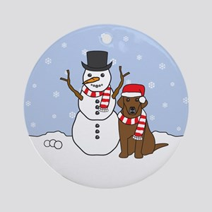 Chocolate Labrador Retriever Winter Ornament