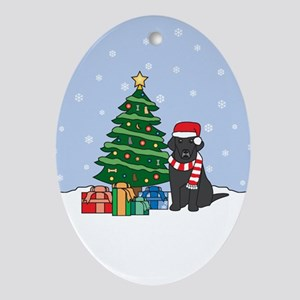 Black Labrador Retriever Christmas Oval Ornament