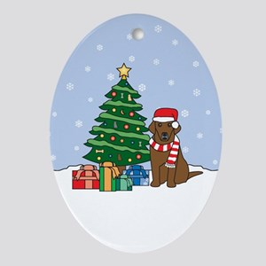 Chocolate Labrador Christmas Oval Ornament