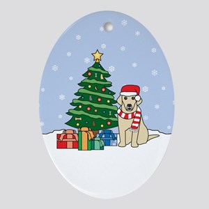 Yellow Labrador Christmas Oval Ornament