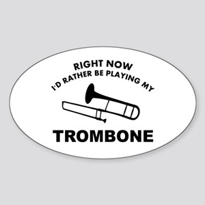 Trombone silhouette designs Sticker (Oval)