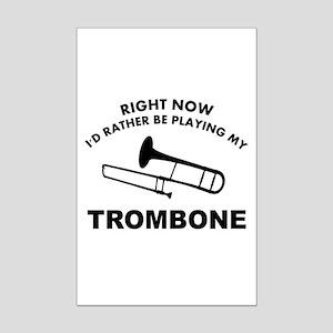 Trombone silhouette designs Mini Poster Print