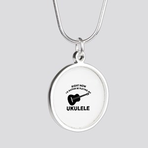 Ukulele silhouette designs Silver Round Necklace