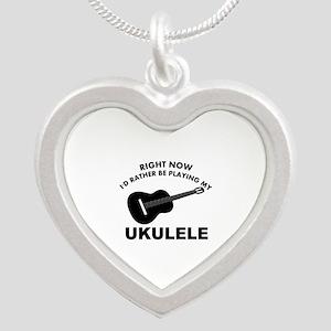 Ukulele silhouette designs Silver Heart Necklace