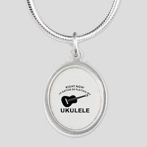 Ukulele silhouette designs Silver Oval Necklace