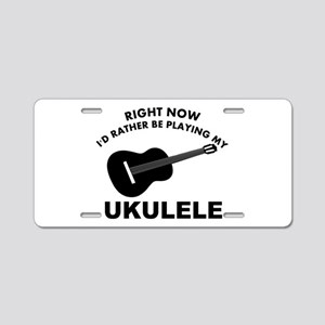 Ukulele silhouette designs Aluminum License Plate