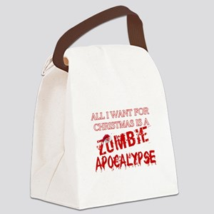 Christmas Zombie Apocalypse Canvas Lunch Bag