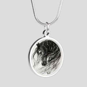 Mane Dance art Silver Round Necklace