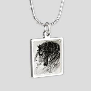 Mane Dance art Silver Square Necklace