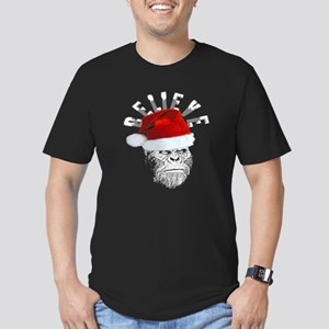 Sasquatch/Bigfoot Santa BELIEVE Men's Fitted T-Shi