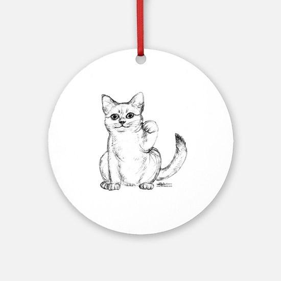 Maneki Neko Beckoning Cat Ornament (Round)