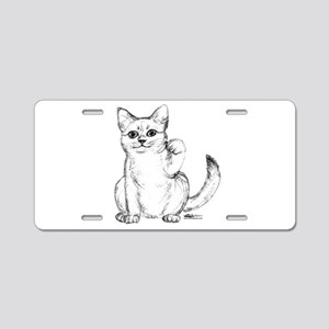 Maneki Neko Beckoning Cat Aluminum License Plate