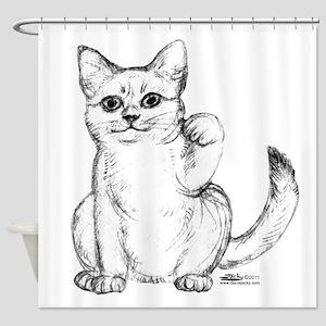 Maneki Neko Beckoning Cat Shower Curtain