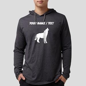 Custom Coyote Howling Silhouette Mens Hooded Shirt