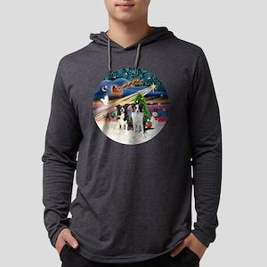Xmas Magic - Border Collies (two Mens Hooded Shirt