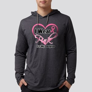 I Wear Pink Heart For My Daughte Mens Hooded Shirt