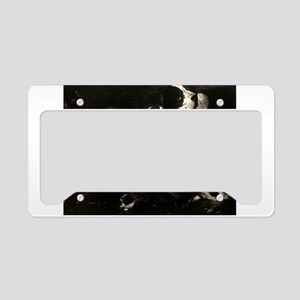 Vintage Painting of Dogs License Plate Holder