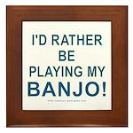 Playing Banjo Framed Tile