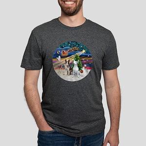 Xmas Magic - Bull Terriers  Mens Tri-blend T-Shirt