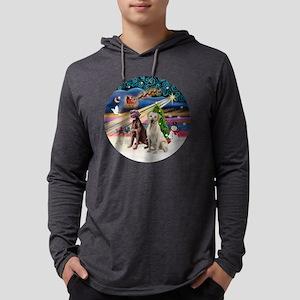 Xmas Magic - Labradors (Choc-Yel Mens Hooded Shirt