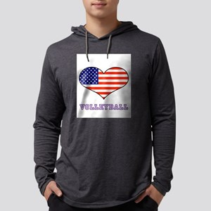 LOVE VOLLEYBALL STARS AND STRIPE Mens Hooded Shirt