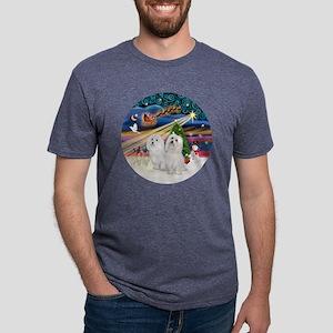 Xmas Magic - Maltese (TWO). Mens Tri-blend T-Shirt