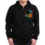 Colour skull design Zip Hoodie (dark)