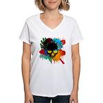 Colour skull design Women's V-Neck T-Shirt