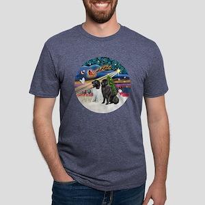 Xmas Magic - Newfoundlands  Mens Tri-blend T-Shirt