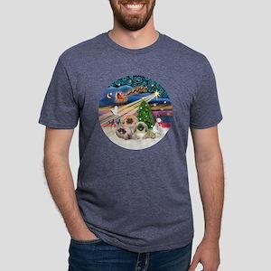 Xmas Magic - Pekingese (Thr Mens Tri-blend T-Shirt