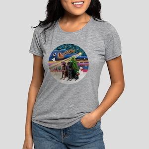 Xmas Magic - Labradors (b Womens Tri-blend T-Shirt