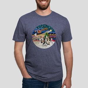 Xmas Magic - Petit Bassets  Mens Tri-blend T-Shirt
