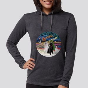 Xmas Magic - Poodles (Two Stan Womens Hooded Shirt