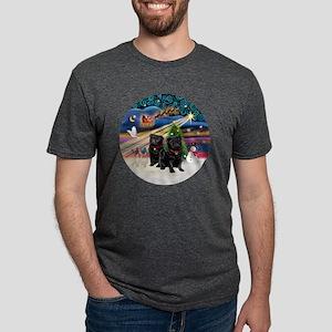 Xmas Magic - Pugs (TWO blac Mens Tri-blend T-Shirt