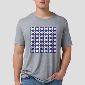 Royal Blue Argyle Mens Tri-blend T-Shirt