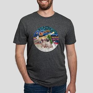 Xmas Magic - Pugs (Two fawn Mens Tri-blend T-Shirt