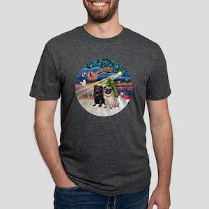 Xmas Magic - Pugs (TWO-fawn Mens Tri-blend T-Shirt