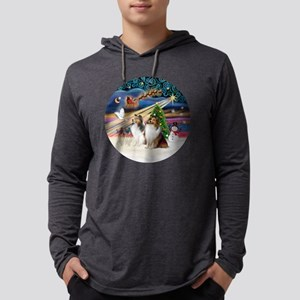 Xmas Magic - Shelties (TWO sable Mens Hooded Shirt
