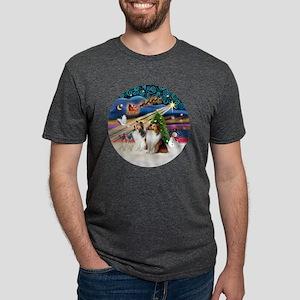 Xmas Magic - Shelties (TWO  Mens Tri-blend T-Shirt