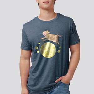 Cow Over Moon Mens Tri-blend T-Shirt