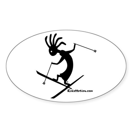 Kokopelli Extreme Skier Oval Sticker