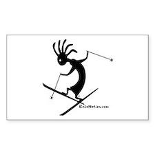 Kokopelli Extreme Skier Rectangle Sticker