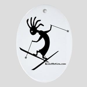 Kokopelli Extreme Skier Oval Ornament