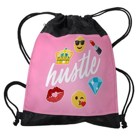 Hustle Pink Emojis Drawstring Bag