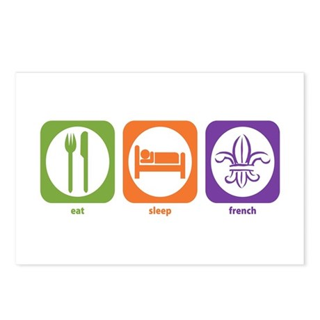 Eat Sleep French Postcards (Package of 8)