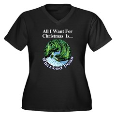 Christmas Peas Women's Plus Size V-Neck Dark T-Shi