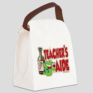 Teachers-Aide-Wine Canvas Lunch Bag