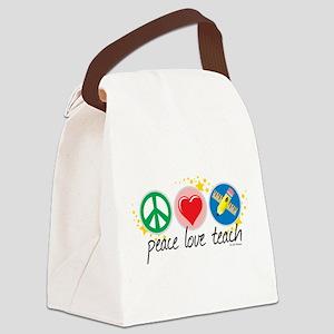 Peace-Love-Teach Canvas Lunch Bag
